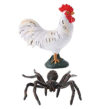 F Fityle 2pcs Assorted Jungle Zoo Farm Plastic Animal Figures Cock Spider Figurine Toys