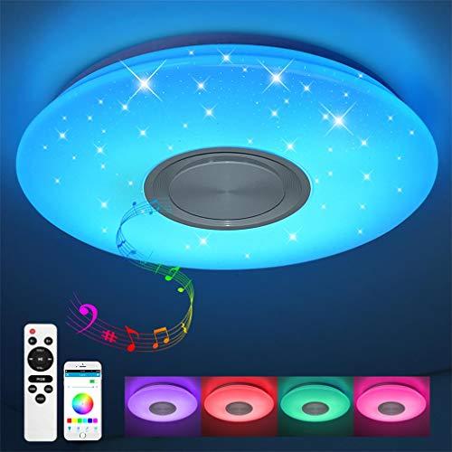 Bluetooth Deckenleuchte mit Fernbedienung und App 24W Warmweiß-Kaltweiß dimmbar Sternenhimmel, Led Deckenleuchte Farbwechsel für Schlafzimmer Küche Kinderzimmer Wohnzimmer