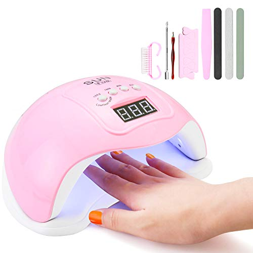 Gel Nail Dryer Mini,48W UV Nail Lamp Dryer Fast Drying Auto Sensor Nail Curing Lamp with 4 Timers,Home and Salon Nail Equipment for All Nail Polish(Pink)