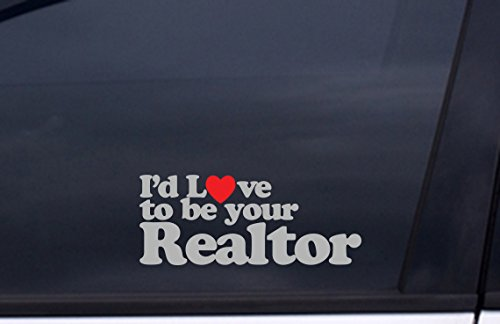 Love to be your REALTOR Sticker 4'x8' METALLIC SILVER and RED Free Shipping