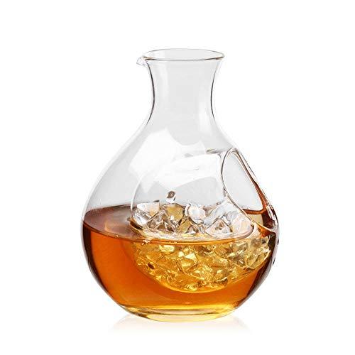 Decanter per whisky, con tasca per ghiaccio, piccola caraffa per vino, caraffa per ghiaccio trasparente, per liquori, Scotch, Bourbon, vodka, whisky, rum, alcol