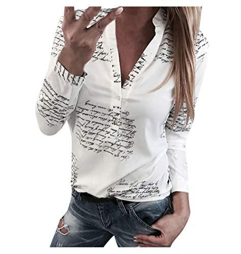 Blusas Mujer Primavera 2020 Fossen Botones de Mujer con Cuello en V Botón de Impresión Camiseta de Manga Larga Tops Camisa