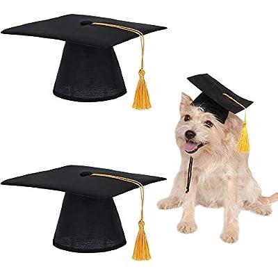 Pet Graduation Hat, 2 Pieces Doctor Dog Hat, Cat and Dog Graduation Hat for Pet Clothing, Parties, Pet Birthdays, Pet Photography (Black)