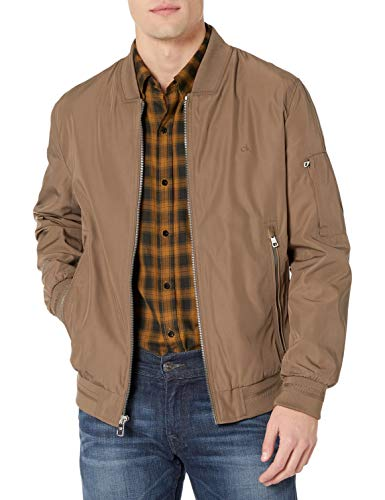 Calvin Klein Men's Flight Jacket, Dark Tan, Medium