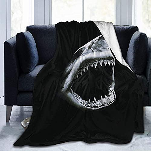Manta de forro polar de tiburón, acogedora manta de sherpa suave para sofá cama de 150 x 100 cm