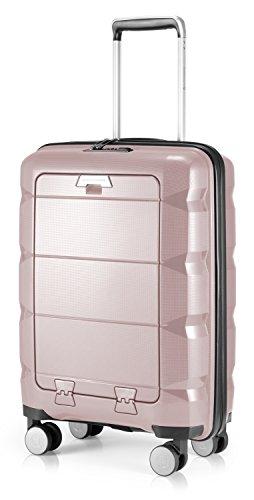 HAUPTSTADTKOFFER - Britz - Handgepäck mit Laptopfach Hartschalen-Koffer Trolley Rollkoffer Reisekoffer, TSA, 4 Rollen, 55 cm, 34 Liter, Altrosa