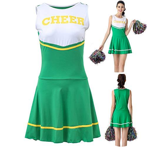 ThreeH Disfraz de Animadora de la Escuela Secundaria de Uniforme Musical para Mujer Disfraz Un tamaño sin Pompones,Green