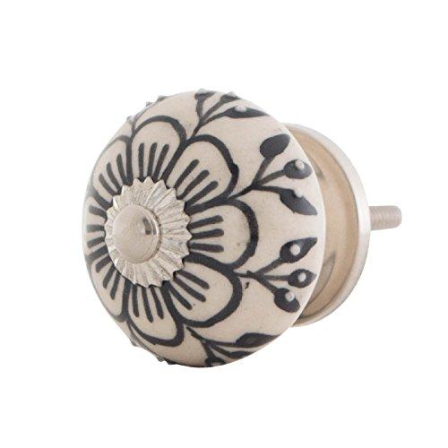 Knober Möbelknopf Keramik Porzellan Schwarz-Weiß Landhausstil Shabby-Chic Kommodenknopf Kommodengriff (SW 09)
