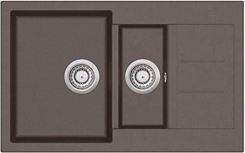 Granitspüle W800 Küchenspüle in versch. Farben Einbauspüle Granit inkl. Drehexcenter, Ab- und Überlaufgarnitur ab 60er Spülenunterschrank Made In Germany (braun)