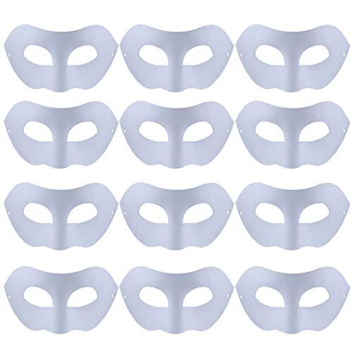 FunPa 12 Stück Maske Weiss DIY Unlackiert Weiße Maske Unbemalt Maskerade Maske DIY Dekoration Maskenball Party Masken Bemalen Karneval Cosplay Kostüm Kindertag Geschenk für Kinder Frauen Männer