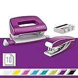 Leitz 55996062 Mini-Heftgerät-und Locher-Set (für bis zu 10 Blatt, Inkl. Heftklammern, WOW) metallic violett