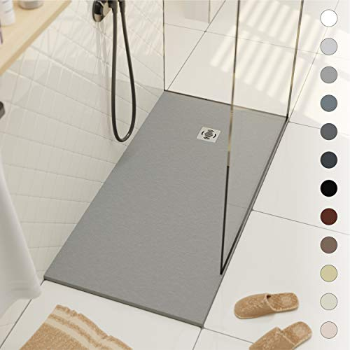 Shower Tray 700 x 1700 Stone Resin Ebro - Anti Slip and Low Profile - Matte Finish and Slate Effect - All Sizes Available - Shower Waste and Grid Included - Light Grey RAL 7035