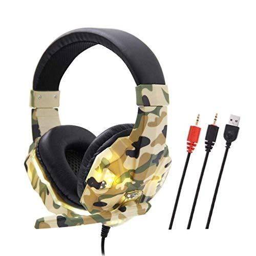 PC Auriculares de juego de camuflaje, sobre auriculares con audífonos con cancelación de ruido Cancelación Luz LED, Seducida de graves estéreo, Earjetas de memoria suave para teléfono, Laptops, Tablet
