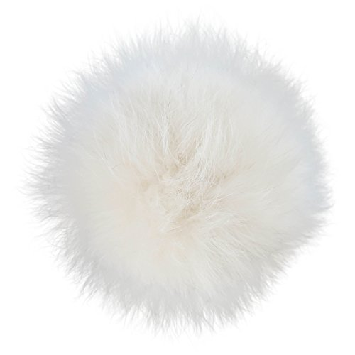 GearTOP Interchangeable Pom Pom Real Fox Fur Ball Beige