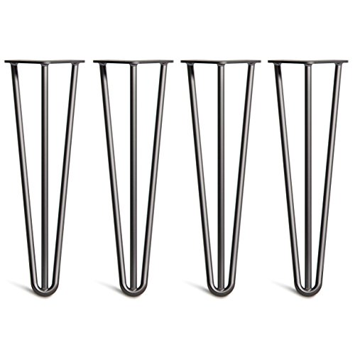 [HLC] 4 x Heavy Duty Hairpin Table Legs – Superior Double Steel Welding with Free Screws, Build Guide & Protector Feet Worth £8! – 12mm Steel, All Sizes & 13 Colours [16'/40cm, 3 Rod, Black]