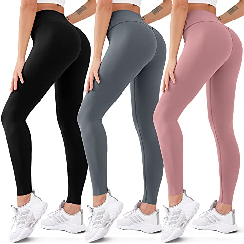 CHARMKING 3 Pack High Waisted Leggings for Women Butt Lift Tummy Control Yoga Pants Non See-Through Workout Running Pants (03 Black/Dark Grey/Rosy Brown, L/XL)