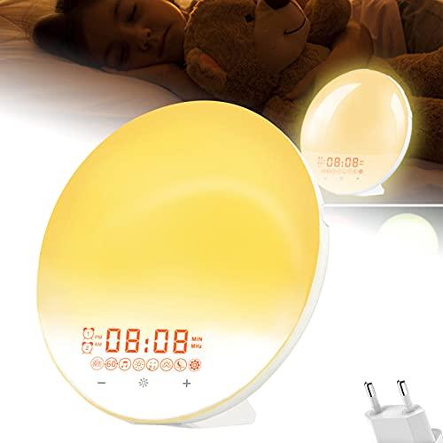 Despertador de luz, despertador con luz de amanecer y puesta de sol, 20 niveles de brillo, radio FM, función de repetición, lámpara de ambiente de 7 colores, para niños y adultos