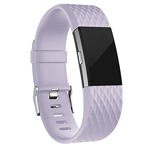 iGK Replacement Bands Compatible for Fitbit Charge 2, Adjustable Replacement Bands with Metal Clasp Special Edition Lavender Small