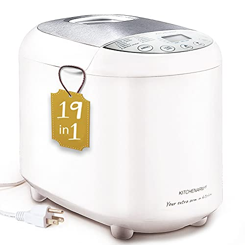 KITCHENARM 19-in-1 Automatic Bread Machine with Recipes - Beginner Friendly 2LB Bread Making Machine Bread Maker Machine with Gluten Free Setting (3 Loaf Sizes, 3 Crust Colors, 15 Hours Delay Timer)