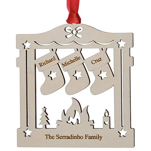 Alphabet barn Personalised Christmas Tree Decoration Family of 3 1st Xmas Bauble 2 to 7 names Engraved Hanging Wood Keepsake Ornament Made in UK with Gift Bag (3 names)