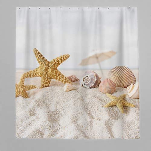 Muschel Seestern Anti-Schimmel Duschvorhang, Waschbar Wasserdicht Badvorhänge Hochwertige Qualität Blickdicht aus Stoff für Badezimmer white 180x200cm
