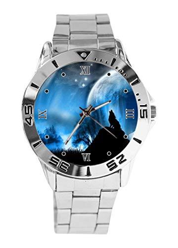 Reloj de Pulsera analógico con diseño de Lobo y Luna, de Cuarzo, Esfera Plateada, Correa clásica...