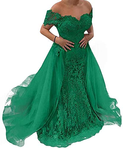 Snow Lotus Women's Off Shoulder Mermaid Prom Dresses Lace Applique Long Evening Party Gowns with Detachable Train Green (Apparel)