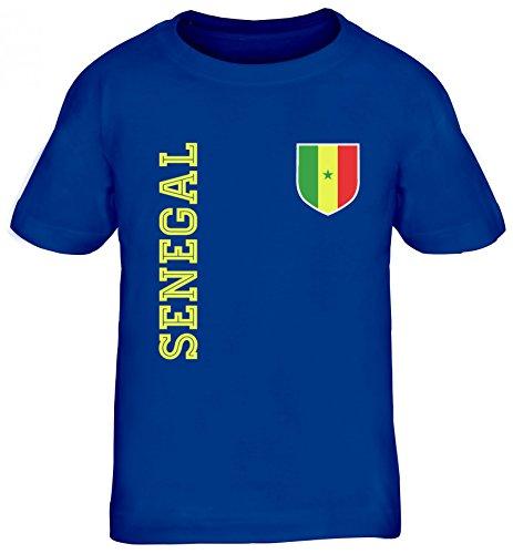Wappen Fußball WM Fanshirt Gruppen Kinder T-Shirt Rundhals Mädchen Jungen Fan Trikot Senegal, Größe: 110/116,royal blau