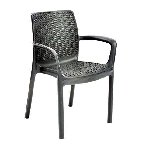 Keter Bali Outdoor Garden Furniture Stacking Chairs, Graphite, 6 Seater
