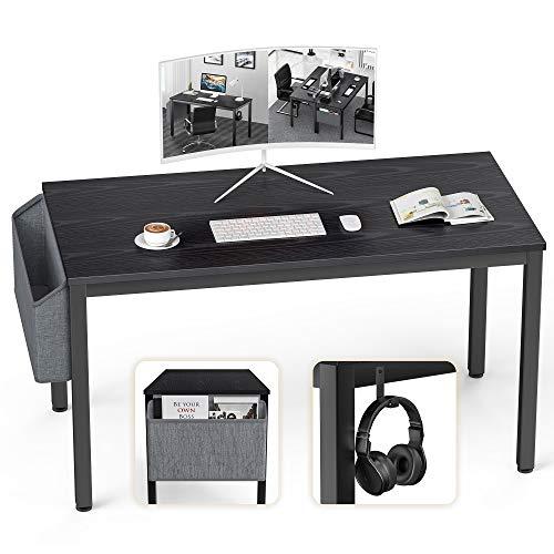 Ellenge Computer-Schreibtisch Heimbüro Schreibtisch moderner Stil PC Laptop Arbeitsstation Gaming Tisch für Home Office, mit Aufbewahrungstasche und Haken, schwarzer Metallrahmen (schwarz)