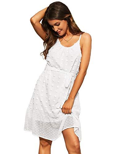 Damen Casual Flowy Kleid Spaghetti Strap Kleid A Linie Sommer Minikleid Weiß M CLX018S21-02