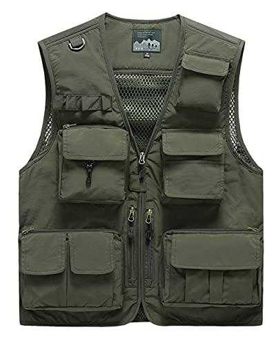 Ktwolen Herren-Anglerwesten für draußen, schnelltrocknend, mit mehreren Taschen, Safari-, Jagd-, Wanderweste, atmungsaktiv, A-army Grün, XL