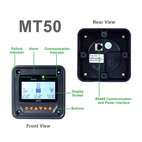EPEVER MPPT Charge Controller 40A 12v/24v Auto + MT50 Remote Meter Tracer4210AN Max.PV 100V with Backlight LCD Display, Negative Ground, Generator for Lithium AGM Sealed Battery Charging
