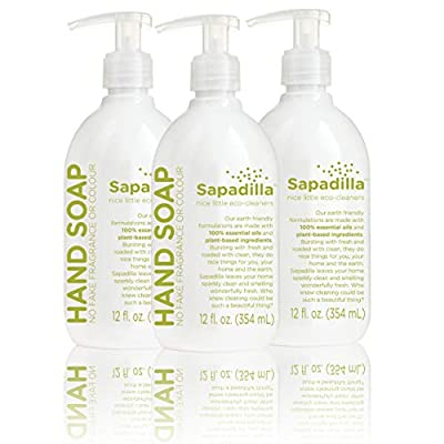 Sapadilla Rosemary + Peppermint Biodegradeable Liquid Hand Soap Pump, 12 Ounce, (Pack of 3)