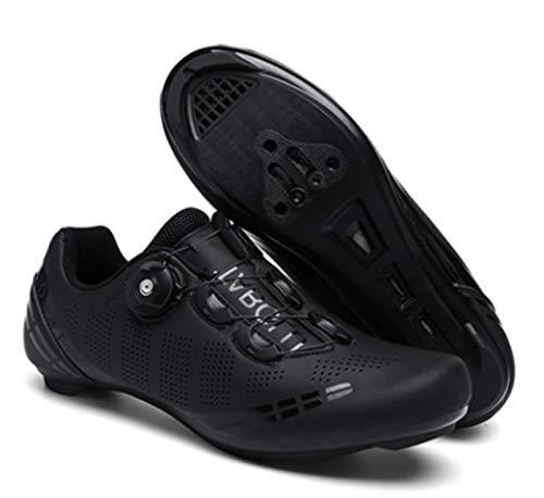 Govoland Zapatos De Ciclismo SPD Auto-Bloqueo De Hombre Camión De Carretera Profesional Hierro Tres Zapatos Racing Femenino Bicicleta Bloqueo De Carretera(42, Black)