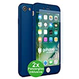 CASYLT iPhone 7 & iPhone 8 Hülle [inkl. 2X Panzerglas] 360 Grad Fullbody Premium Handy-Hülle Blau kompatibel für iPhone 7/8 Komplettschutz Hülle