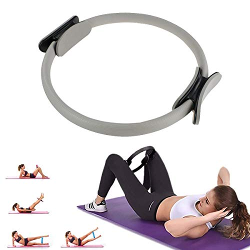 OFOCASE Yoga Pilates Circle, Pilates Ring Yoga Ring Double Handle Dual Grip Magic Exercise Fitness Circle to Burn Fat, Pilates Ring Magic Circle for Effective Strength And Resistance Training (Gray)