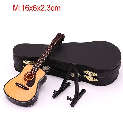 Ttzz Mini-Vollwinkel-Folk-Gitarre Gitarre Miniaturmodell aus Holz Mini-Musikinstrument Modellsammlung Akustikgitarre Vollwinkel M: 16CM