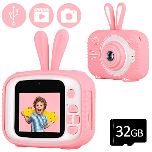 YOUSAMS Kids Selfie Camera Toys Gifts for Girls Boys Age 2-12 Year Old Kids Camera Digital Camcorder 2.0 Inch IPS Screen with 32GB Card for Toddler Children Christmas Best Birthday Gifts (Pink)