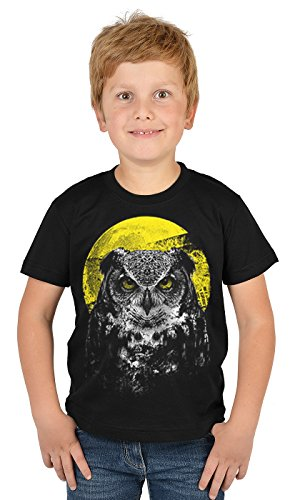 Eulen-Motiv-Jungen-Shirt/Kinder-Shirt mit Tier-Druck: Night Owl - tolles Geschenk- Cooler Look/kräftige Farben