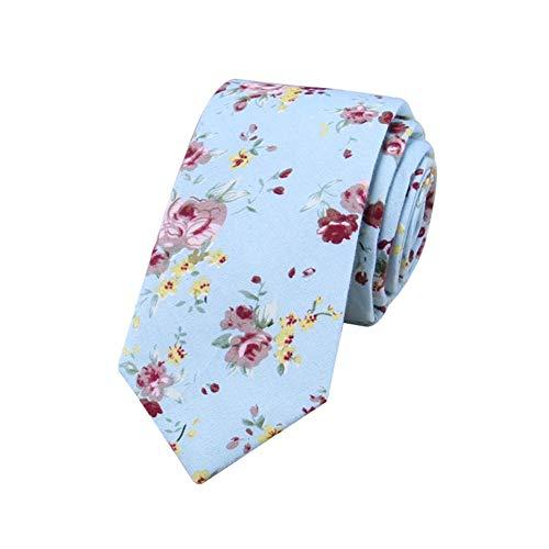 JUNGEN Corbata Estampada de Flores para Hombre Corbata de Informal Corbata Estrecha Corbata de algodón Corbata Elegante y Moda para Festival Citas Fiesta Size 148 * 6cm (Azul)