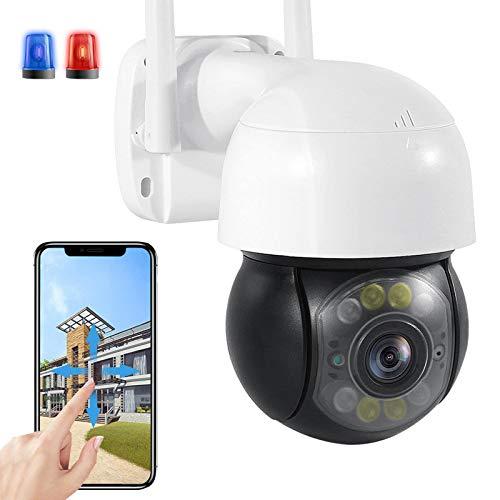Cámara WiFi PTZ de Vigilancia de Seguridad Exteriores Visión Nocturna Color HD 3MP IP Cámara Sonido de Alarma DIY Seguimiento Automático IP66 Impermeable Almacenamiento en la Nube(Pago) 【Cámara+64G】