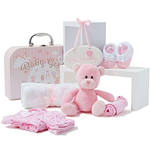 Baby-Geschenk-Set – Neugeborene Baby-Geschenke beinhalten Babykleidung, Musselin-Tücher, niedlichen rosa Teddybär und hängende Plakette