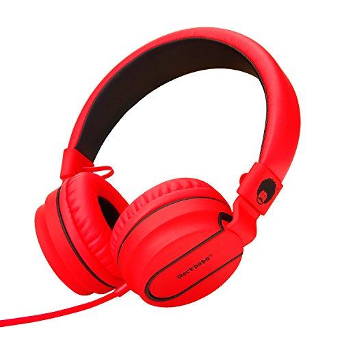 Rockpapa On Ear Opvouwbare Hoofdtelefoon Oortelefoon met Microfoon voor Kinderen Kinderen Jongens Meisjes, iPhone iPod iPad MP3/4 CD/DVD Spelers Computer Tabletten Mobiele Zwart Rood