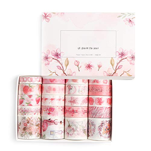 BERYCH 20 Rollen Washi Tape Set Papierband-Geschenkbox, zum Scrapbooking, Tagebuch, DIY-Lippenstiftaufkleber, washi Dekorband zur Geschenk dekoration(Pink)