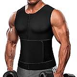 Sauna Suit for Mens Waist Trainer Workout Trimmer Belt for Men Corset Sweat Vest Weighted Tank Top Faja Para Hombre (Black, XXXX-Large)