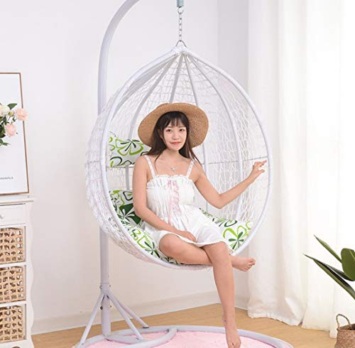 Afjyar Leisure chair outdoor hanging basket wicker chair adult hanging chair swing single hanging blue chair balcony rocking chair