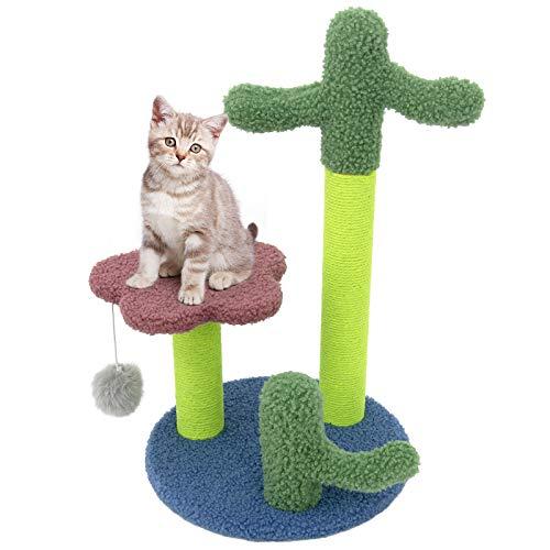 Macallen Árbol Rascador para Gatos, Cactus Juguete para Interiores para Gato, Rascador Gato con una Altura de 50cm, Árbol de Gato Estable, Superficie de Cachemira Suave