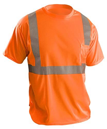 OccuNomix LUX-SSETP2B-OL Classic Standard Short Sleeve Wicking Birdseye T-Shirt, Class 2, 100% ANSI Wicking Polyester Birdseye, Large, Orange (High Visibility)