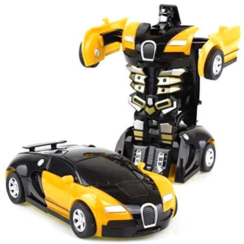Egosy Ferngesteuerte Roboter Roboter-Auto Roboterauto Transformers Kinder Spielzeug für Jungen-Geburtstag Spielzeug Geschenk Transformation Roboter(Gelb)